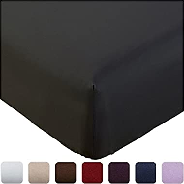 Mellanni Fitted Sheet Cal-King Black Brushed Microfiber 1800 Bedding - Wrinkle, Fade, Stain Resistant - Hypoallergenic - (Cal King, Black)