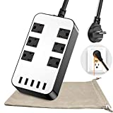 Power Strip - 6-Outlet Surge Protector with 5 USB Ports Fast Charging (4.8A) UL Listed, 6Ft Long Extension Cord Flat Plug Wall Mountable, 1700 Joules for iPhone iPad Home Dorm Office Laptop Computer