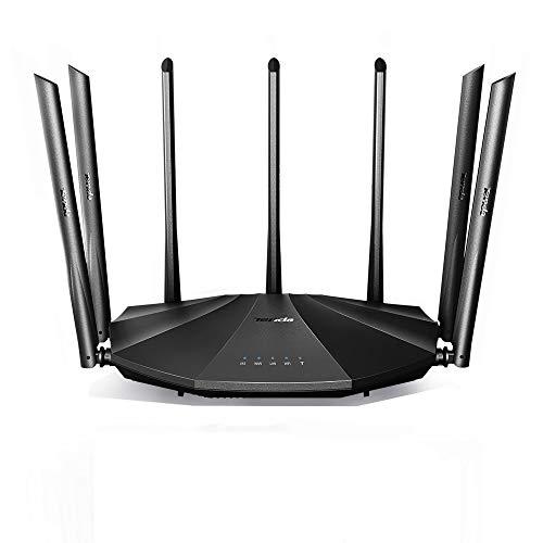 Tenda AC23 WiFi Router Doble Banda Gigabit, 2033 Mbps Router, 4x4 MU-MIMO, Cobertura de hasta 1400 pies Cuadrados, Control Parental Compatible con Alexa AC2100, Neg