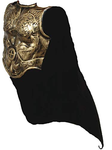 Heavy Plastic Antiqued Gold Roman Armor Chestplate Costume with Cape