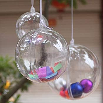 StillCool Clear Ornaments Plastic Fillable Ball for Christmas Ornament Baubles - Pack of 12  60mm - Carton Packaging