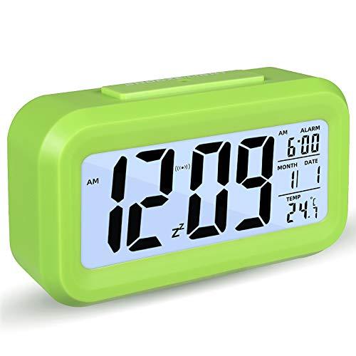 Reloj Despertador Digital, Luz Nocturna con Repetición De Pantalla Led, Reloj Despertador Junto a La Cama con Calendario De Tiempo Y Temperatura, para El Dormitorio De La Oficina En Casa (Verde)