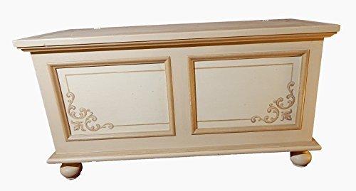 BeautifulCasa.it Mobile in Legno Made in Italy CASPRI cassapanca Baule con cornici e decori a Mano. Arredo Ingresso, arredo Salotto, Mobile Camera da Letto. L100xP44xH51