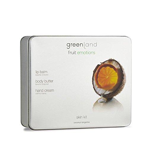 Greenland Hautpflege Set Kokos Manderine | Cremige Body Butter, wohlduftende Lippenpflegestift & natürliche Handcreme ohne Alkohol