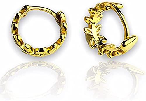 Pendientes de aro de oro grueso de 14 quilates, pendientes de aro de oro vintage, pendientes de aro de oro, pendientes pequeños, pendientes de aro minimalista EB1, Without Gift Box, dorado,