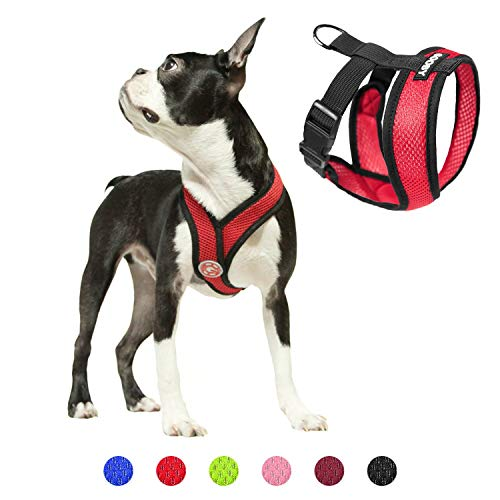 Gooby Dog Harness - Red, Medium - Comfort X Head-in Small Dog Harness with Patented Choke-Free X Frame - Perfect on The Go No Pull Harness for Small Dogs or Cat Harness