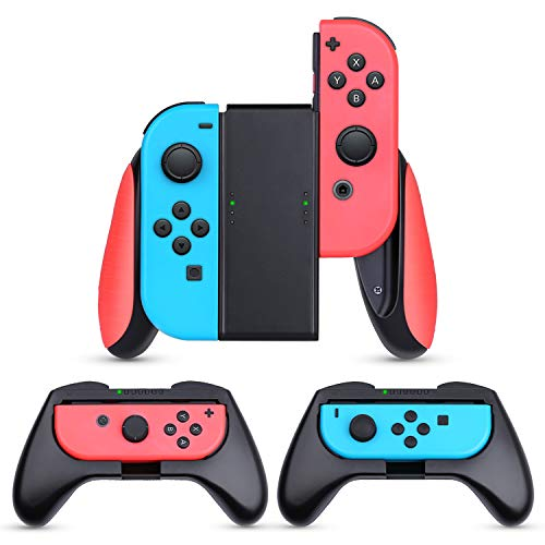 HEYSTOP Grip Compatible with Nintendo Switch/Switch OLED Joy Con Grip, 3 Pack Wear Resistant Game Controller Handle Case Kit for (Red)