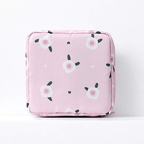 Alician Sac hygiénique Portable Grande capacité de Voyage cosmétique Serviette de Table, 13 x 13 cm, Pink Begonia Flower