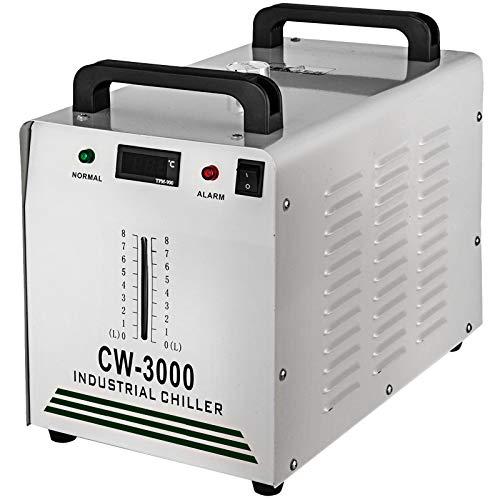 VEVOR Enfriador de Agua Industrial de Termólisis para Máquinas de Grabado CNC/Láser 60 W / 80 W 220 V 60 Hz CW-3000, Tanque Enfriador de Agua Termólisis 9 L, Enfriador de Agua Industrial 10 m