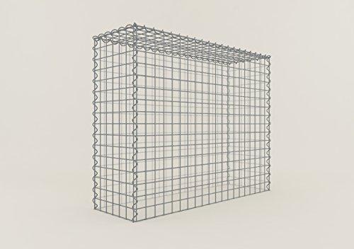 GABIONA Steinkorb-Gabione eckig, Maschenweite 5 x 5 cm, Tiefe 30 cm, Anbaukorb Typ 3, Spiralverschluss, galvanisch verzinkt (100 x 80 x 30 cm)