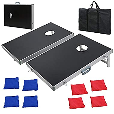 F2C Portable Aluminum/Wooden/PVC Framed Bean Bag Cornhole Toss Game Set Boards 3FT 2FT/4FT 2FT W/ 8 Bean Bags and Carrying Case| Original Black, Classic Red& Blue to Choose