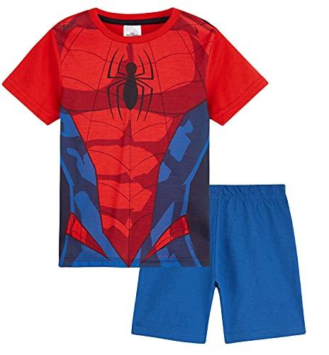 Marvel Spiderman Schlafanzug Jungen, Kurzer Kinder Schlafanzug Jungen und Teenager, Avengers Fanartikel, Pyjama Set, 92-164 (Rot, 9-10 Jahre)