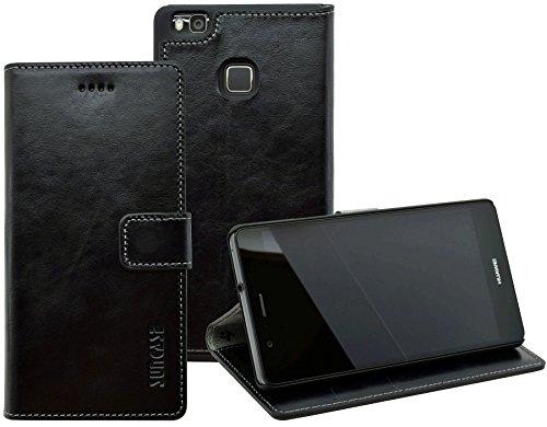 Huawei P9 lite - Suncase Book-Style (Slim-Fit) Ledertasche Leder Tasche Handytasche Schutzhülle Hülle Hülle (mit Standfunktion & Kartenfach) schwarz