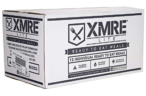 XMRE Lite Case – MRE Meals Ready to Eat Military – 12 pcs Meal Kit Supply – Fully Cooked Instant Meals – Light in Calories – Emergency Survival Meal Box – 36 Months Extended Shelf Life