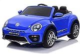 MEDIA WAVE store LT893 Coche eléctrico para niños 2 plazas Volkswagen Beetle 12V (Azul Oscuro)