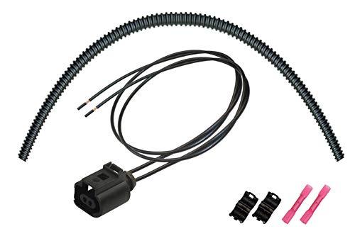 OEM 1J0973702 / 1J0 973 702 konfektionierter 2-pol. Stecker Steckverbinder Buchse, Reparatursatz m. Wellrohr/Endstücke
