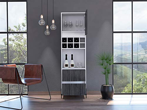 Home Source Bar Storage Cabinet Cupboard in Grey Oak 8 Bottle Rack, MDF, White, 2 Doors and 1 Drawer