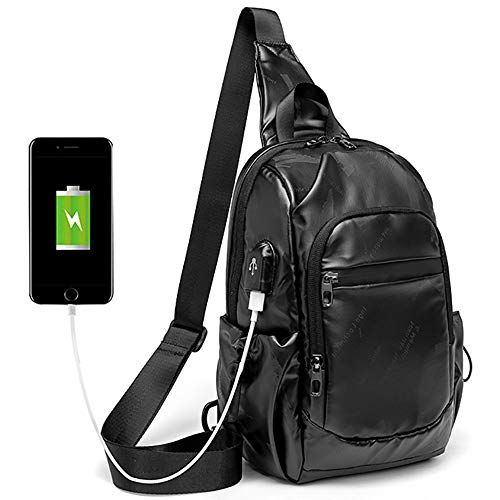 YMXLJJ Multipurpose Backpack Crossbody,with USB Charging Port and Convenient Headset Hole,Korean Men's Trendy Chest Bag,Classic Black