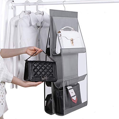 JIAJIALIN Hanging Handbag Organizer DustProof Storage Holder Bag WardrobeDual-Sided 6 Clear See-Through Pockets