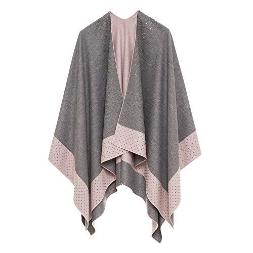 Women's Shawl Wrap Poncho Ruana Cape Cardigan Sweater Open Front for Spring Fall (PCS-3)