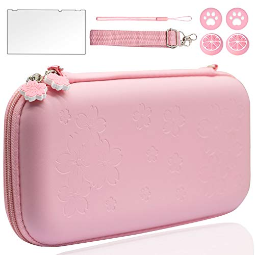 BRHE Pink Travel Carrying Case Kit for Nintendo Switch/Switch Lite Accessories Hard Portable Protective Bundle Water-Proof Shell with Glass Screen Protector and Thumb Grip Caps (Switch, Pink)