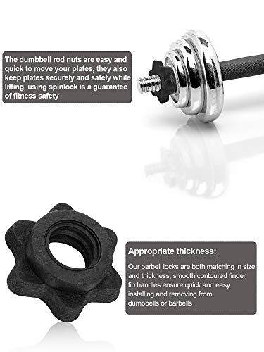 6 Pieces Barbell Accessories Set, 2 Pieces Spring Collar Clips, 2 Pieces Dumbbell Screw Clamps Dumbbell Bar Spinlock and 2 Pieces Spinlock Collars for 1 Inch Standard Barbells Bars Sports