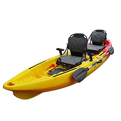 BKC TK122U 12' 6' Tandem 2 or 3 Person SIt On Top Fishing Kayak w/Upright Aluminum Frame Seats, 2...