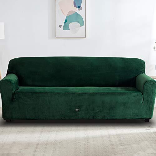 Furlinic Plüsch Überzug für 4 Sitzer Sofa Sofabezug Elastisch Stretch Kuschel Couchbezug Waschbar Dunkelgrün 238 bis 300cm.