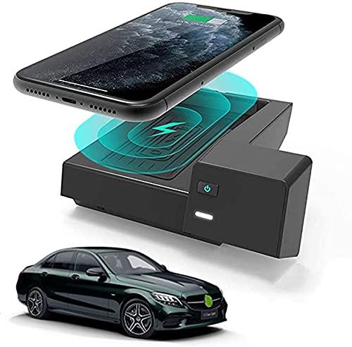 Cargador Inalámbrico Coche Para Mercedes-Benz Clase C GLC 2020-2016 Panel de Accesorios de Consola Central,Cojín Del Teléfono de Las Bobinas de La Carga Rápida de 10W Qi 3 Para El IPhone Samsung