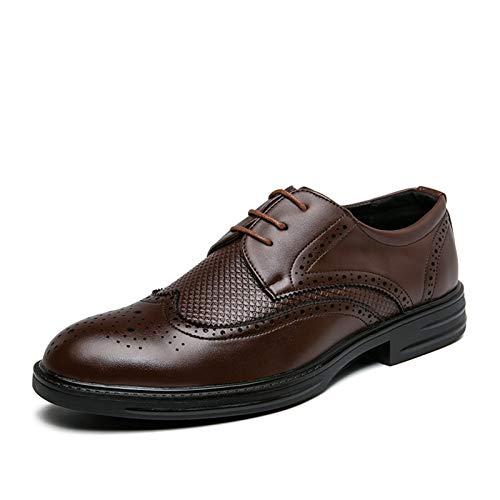 WZQDM Männer Oxfords TOG Schuhe Stave Toe Full Brogues Wing Tipps Plaid 3-Augen-Schnürung Synthetische Leder-Gummi-Sohle-Niedrige Block-Ferse (Color : Brown, Size : 40 EU)