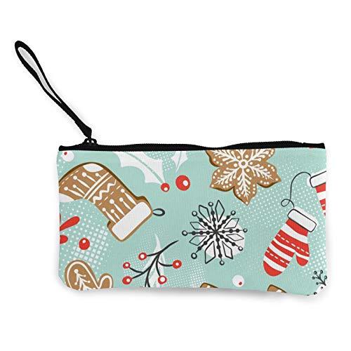 Moneda de lona, patrón de Navidad, 4 monedero con cremallera, bolsa de cosméticos de viaje, multifunción, bolsa de maquillaje, bolsa de teléfono móvil, paquete de lápices con asa