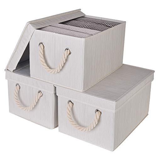 StorageWorks Storage Bins with Lids, Decorative Storage Boxes with Lids and...