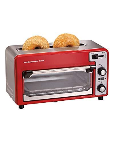 Hamilton Beach 22722 Toastation Toaster Oven w/Wide 2 Slice Toaster Combo, Red