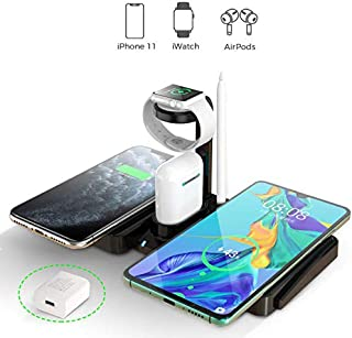 Wireless Charger 4 in 1 Wireless Charging Dock Compatible with iWatch, Airpods and Apple Pen Charging Station Qi Fast Wireless Charging Stand Compatible with iPhone 11 Pro /11/XR/Xs Max/Xs/X/8 Plus/8