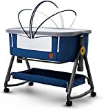 YZPTD Portable Baby Bassinet to-go Infant co-Sleeper, Baby Cribs Movable Baby Bed, Rocking Cradle, Height Adjustment, Angle Tilt, Storage Bag, Mattress, Ideal for Home and Travel, Blue