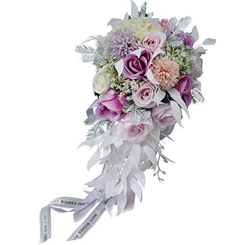 TONGxo Wasserfall Macarons Brautsträuße Simulation Wassertropfen Seidenblumen Hochzeit Bouquet Halten Dekoration (40 cm),A