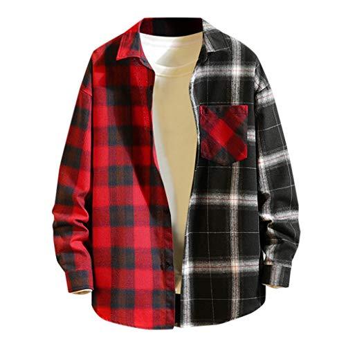 ELECTRI Homme Chemise en Coton à Carreaux Slim Fit Manches Longues Basic Business Loisirs Couleur Couture M-3XL