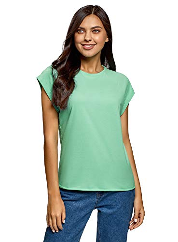 oodji Ultra Mujer Camiseta de Algodón Básica, Verde, ES 42 / L