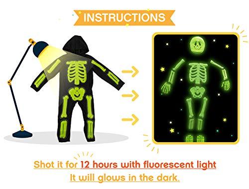 IKALI Scheletro di Halloween per Bambini, 3D Si Illuminano al Buio, Tuta d'ossa 4pezzi