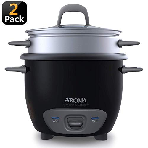 Aroma Arc Rice Cooker and Food Steamer, 3-Cup (Uncooked) 6-Cup (Cooked) (2 Pack Black)