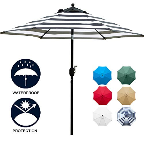 Sunnyglade 7.5' Patio Umbrella Outdoor Table Market Umbrella with Push Button Tilt/Crank, 6 Ribs (Black and White)