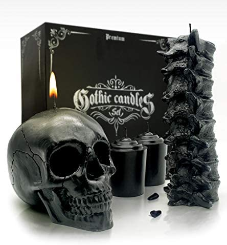 Spine Skull Candle Set Black Skull Decor for Home Scented Goth Gift Box Spooky Gothic Decor product image