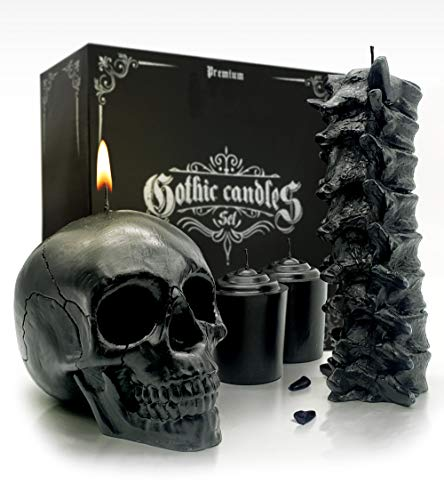 Spine & Skull Candle Set - Black Skull Decor for Home - Scented & Goth Gift Box - Spooky Gothic Decor for Bedroom and Great Aesthetic Coffin Shelf Match.