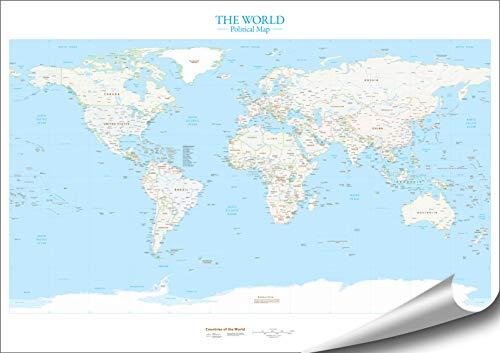 ARTBAY The World - Politische Weltkarte - XXL Poster - 118,8 x 84 cm | sehr genaue, detaillierte politische Weltkarte | 1:35.000.000 | Englisch |Premium Qualität