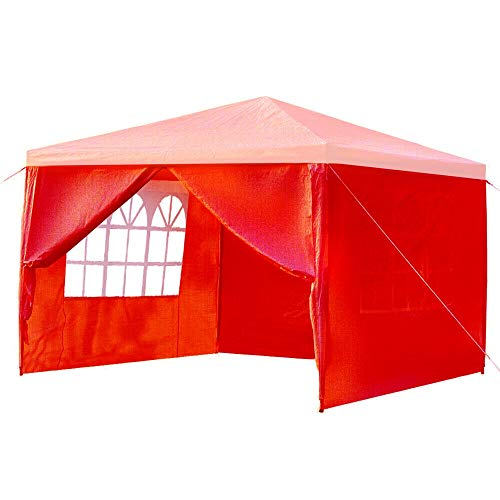 ZHJC Dome Tent 3mx3m 4 Side Walls Covering Outdoor Travel Camping Tent with Window Awning White/Blue/Red with Travel Bag or Beach Travel for Beach Camping (Color : Red, Size : 3 x 3m)
