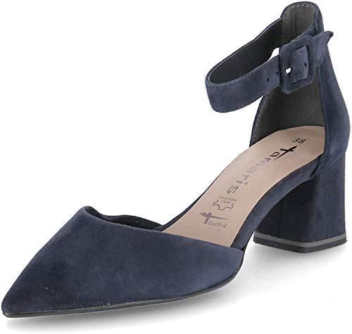 Tamaris 1-24422-24 Damen Spangenpumps Pumps Leder, Größe:38 EU, Farbe:Blau