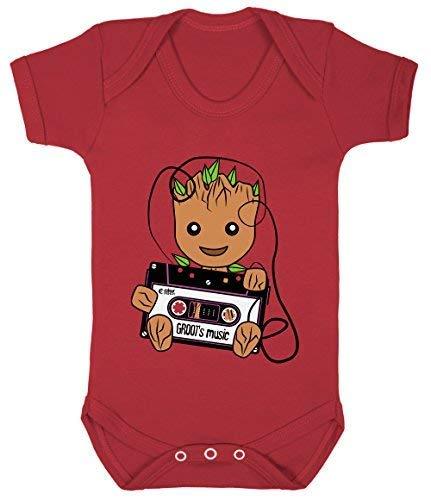 Colour Fashion Groot's Musique Rétro Cassette Superhéros Bodys Bébé 100% Cotton 0-24 - Rouge, 3-6 Months