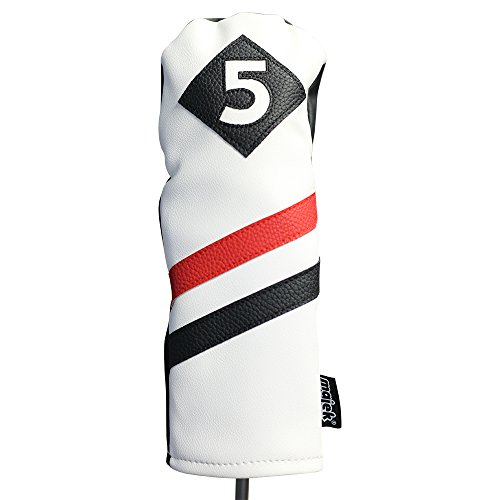 Majek Retro Golf Headcovers White Red and Black Vintage Leather Style 1 & 5 Driver and Fairway Head Cover Fits 460cc Drivers Classic Look