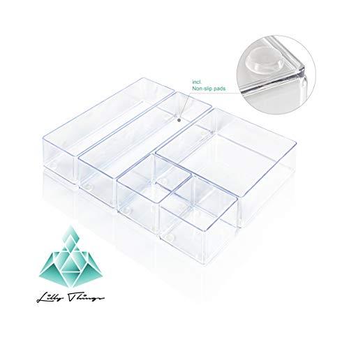Lilly Things Anti-RUTSCH Schubladen Ordnungssystem (5-teilig Set B, transparent) Schubladen Organizer Schubladeneinsatz Aufbewahrungsbox für Make-Up Kosmetik Schminktisch Schreibtisch Büro Bad Küche