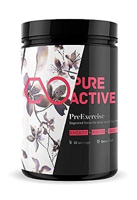SALE! Premium Pre Workout Dietary Supplement 480g - Pre Exercising Energy Booster For Men & Women - Premium Quality, Vegan Friendly, Transparent Formula, 11 Key Ingredients,Natural Flavours by PureActive